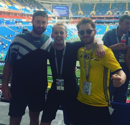 Nathan (right) at the 2018 Football World Cup in Moscow